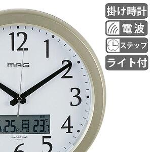 掛け時計 電波時計 ナイトグロー ライト付き ( アナログ 電波 時計 壁掛け時計 インテリア 雑貨 自動 点灯 おしゃれ 電波式 掛時計 とけい クロック カレンダー 温度計 付き ノア精密 NOA )