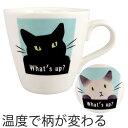 マグカップ 温感マグ 色が変わる 310ml シャム猫 黒猫 磁器 食器 ( マグ カップ コップ コーヒーカップ ねこ 猫 ネコ…