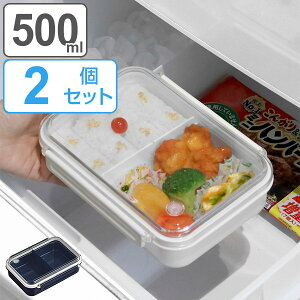 お弁当箱 1段 まるごと冷凍弁当 500ml 2個セット タイトボックス ( ランチボックス 保存容器 弁当箱 作り置き レンジ対応 食洗機対応 シンプル 一段 仕切り付き 一段弁当箱 レンジOK 食洗機OK