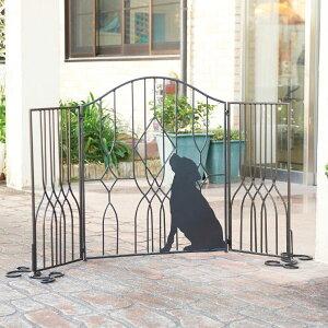 シルエットゲート 犬 ガーデニング用品 ガーデンフェンス ( 送料無料 ガーデニング フェンス ゲート アイアン いぬ ガーデニング雑貨 折りたたみ コンパクト おしゃれ 駐車場スタンド )【