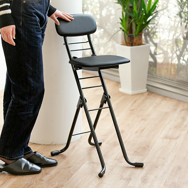 折りたたみ椅子 リリィチェア クッションタイプ 6段階調節 ブラック ( チェア イス 送料無料 ) 【4500円以上送料無料】