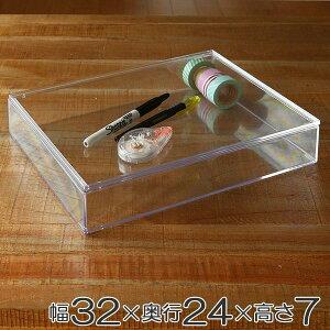クリアケース 書類 浅型 ふた付き A4対応 書類整理 収納 デスコシリーズ ( 小物収納 小物入れ 収納ケース スタッキング 積み重ね プラスチック フタ付き 文箱 文具 文房具 書類 化粧品 コレ