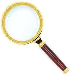 手持ちルーペ 拡大鏡 5-10倍拡大 直径80mm 高級感 木製手持ち虫眼鏡 地図 雑誌 新聞 読書用