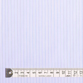 【メーカーお取り寄せ】1.5m(数量15)までならネコポス便商用利用可 生地 スカイ 超長綿先染ブロードロンスト・白×水色ストライプ細 50先染ブロード生地 ネコポス対応