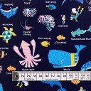 商用利用可 生地 ラミネート 生地 マリン柄 ネイビー 男の子 海洋生物の楽園(ネイビー) ラミネート(厚み0.2mm)生地