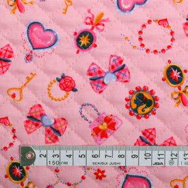 商用利用可 生地 キルティング 生地 ピンク 女の子 リトルレディのキラキラアクセサリー(ピンク) キルティング生地