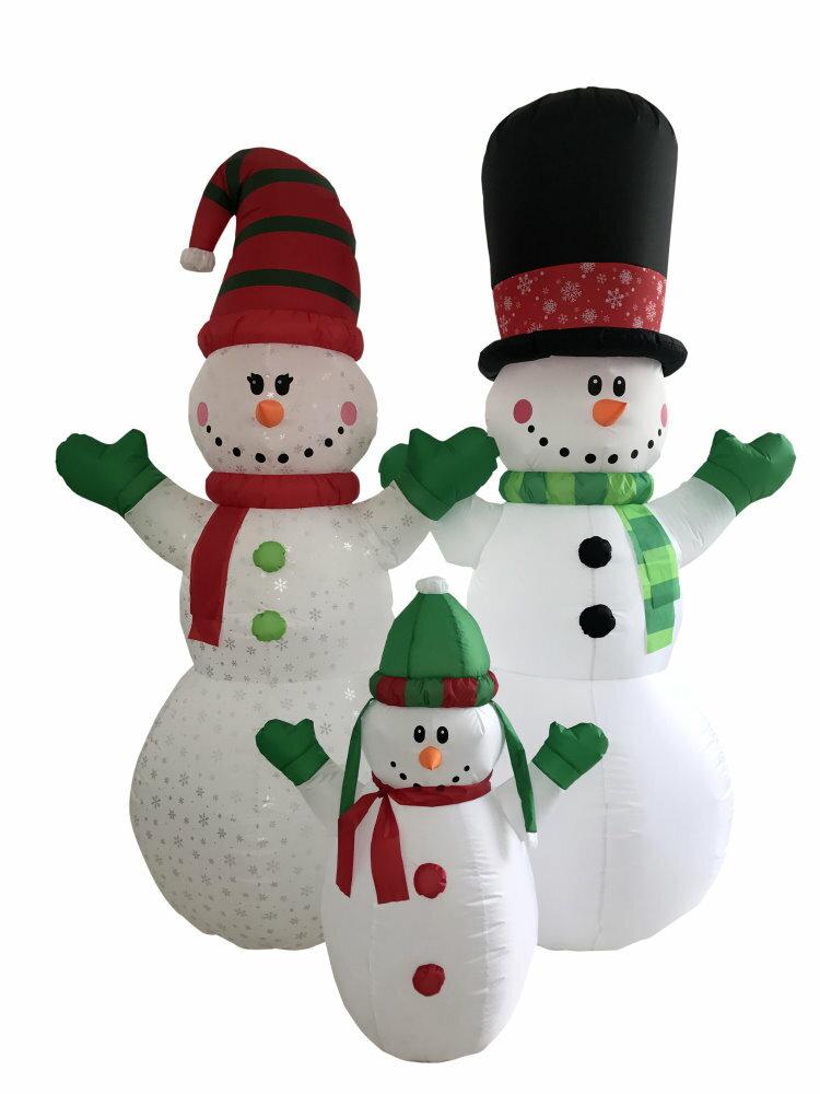 ★クリスマスイルミネーション★エアーディスプレイ スノーマンファミリー240cm