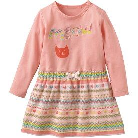 ドッキングワンピース(ねこ)《コンビミニ》ギフト ベビー服 子供服 Combi mini 女の子_30 女の子 長袖_Pup