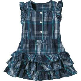 【29%OFF】フリル袖ワンピース(ブルーチェック) 《コンビミニ》ギフト ベビー服 子供服 Combi miniおでかけ 綿100 夏 女の子 _18ms_gp 女の子 袖なし_Pup