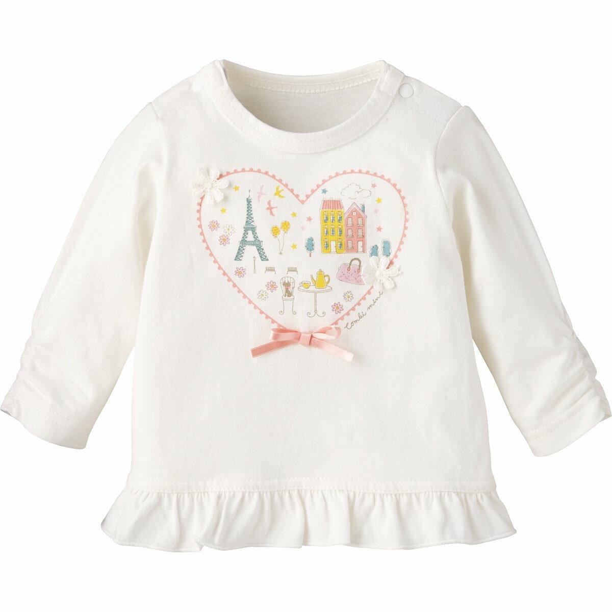 【40%OFF】Tシャツ(パリ){女の子}《コンビミニ》ギフト ベビー服 子供服 Combi mini ベビー 女の子 おでかけ 長袖 長そで ピンク ホワイト 白 Tシャツ _19ss_Pup