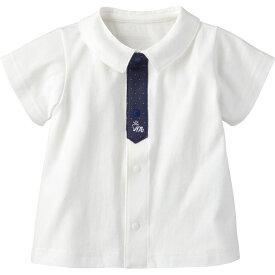 半袖シャツ(ドットタイ) | ホワイト トップス 半袖 70cm 80cm 90cm 男の子 春 夏 おしゃれ 可愛い 赤ちゃん ベビー 子供服 コンビミニ