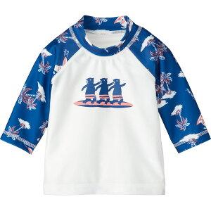 《コンビミニ》 ラッシュガード(サーフィンクマ) : 男の子 女の子 【80cm 90cm 100cm 110cm 120cm】 | 7分袖 ブルー 水着 おしゃれ 可愛い キッズ 幼児 こども水着 子供用水着 スイムウェア こども 子