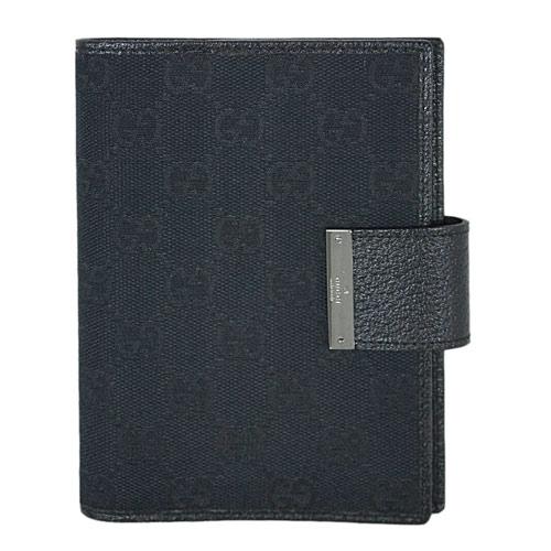 グッチ 手帳カバー 115240-1000 GUCCI アジェンダ メタルプレート GGキャンバス ブラック アウトレット