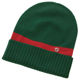 グッチ 帽子 494598-3074 GUCCI ニットキャップ ダブルG ウール100% グリーンxレッド Sサイズ アウトレット