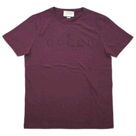 グッチ Tシャツ 441685-6010 GUCCI メンズ 半袖 丸首 GUCCI プリント バーガンディー Lサイズ アウトレット
