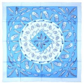 エルメス スカーフ H001410S14 HERMES ソルド カレ ツイル シルク100% 90CMS PLUMES II ブルー・グラシエ/アズール/アルドワーズ 30d28 あす楽対応
