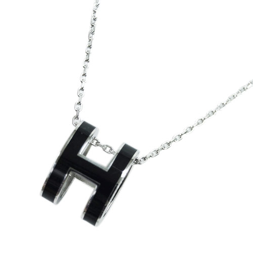 エルメス ネックレス H147991FP03 ペンダント HERMES ポップ アッシュ ノワール ブラック シルバー金具
