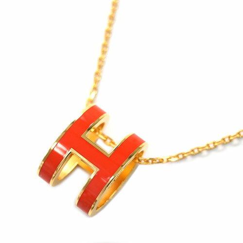 HERMES エルメス ネックレス H147991F86 ペンダント ポップ アッシュ オレンジ・フォンセ ゴールド金具