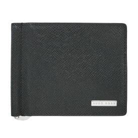 ヒューゴ・ボス 財布 50311740 HUGO BOSS ボス メンズ 二つ折り 札入れ マネークリップ SVロゴプレート カーフブラック 1812s02 アウトレット あす楽対応