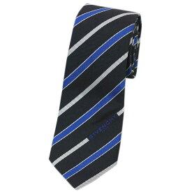 ジバンシィ ネクタイ GV65LS GIVENCHY メンズ ナロータイ ジャガード ストライプ シルク100% ブラック/ブルー 31403 アウトレット あす楽対応