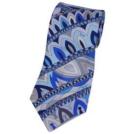 エミリオ・プッチ EMILIO PUCCI メンズ ネクタイ プリント デザイン シルク100% ブルー/ネイビー/ライトパープル 18105