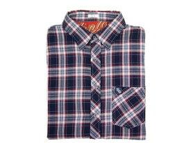 リプレイ シャツ M4742 メンズ カジュアルシャツ 長袖 スリム チェック ネイビーxレッドxアイボリー Sサイズ あす楽対応