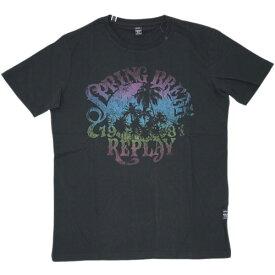 リプレイ Tシャツ M3260 REPLAY メンズ 半袖 丸首 プリント パームツリー ブラック Mサイズ あす楽対応