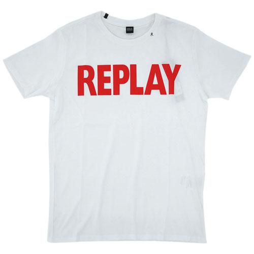 リプレイ Tシャツ M3471 REPLAY メンズ 半袖 丸首 REPLAY ロゴプリント ホワイト/レッド Mサイズ あす楽対応