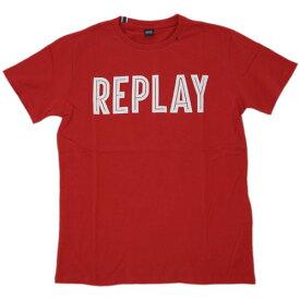 リプレイ Tシャツ M3478 REPLAY メンズ 半袖 丸首 REPLAY ロゴプリント ピュアレッド Mサイズ あす楽対応