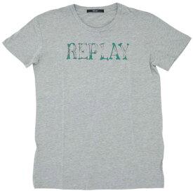 リプレイ Tシャツ W3791L REPLAY レディース 半袖 丸首 REPLAY ロゴプリント グレーメランジ Sサイズ あす楽対応