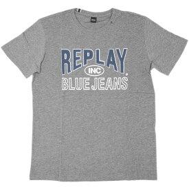 リプレイ Tシャツ M3598 REPLAY メンズ 半袖 丸首 ロゴプリント REPLAY BLUE JEANS グレーメランジ 19302 あす楽対応