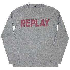 リプレイ Tシャツ M3330S REPLAY メンズ 長袖 丸首 REPLAY ロゴプリント グレーメランジ/ボルドー Mサイズ 19303 あす楽対応