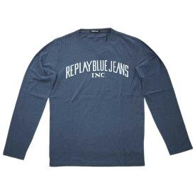 リプレイ Tシャツ M3008 REPLAY メンズ 長袖 丸首 ベーシックジャージー L/S オーセンティック プリント ナイトブルー 20705