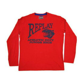 リプレイ Tシャツ M3859 REPLAY メンズ 長袖 丸首 ロゴ+タイガープリント レッド Mサイズ あす楽対応