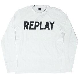 リプレイ Tシャツ M3330S REPLAY メンズ 長袖 丸首 REPLAY ロゴプリント ホワイト/ブラック XLサイズ 30111 あす楽対応