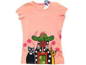 リプレイ Tシャツ レディース 半袖 丸首 プリント+ビーズ刺繍 サーモンピンク Sサイズ わけあり あす楽対応