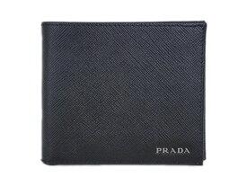 32cabdfa3203 プラダ 財布 2MO738 メンズ PRADA 二つ折り 小銭入れ付き サッフィアノ バイカラー NERO+MERCURIO