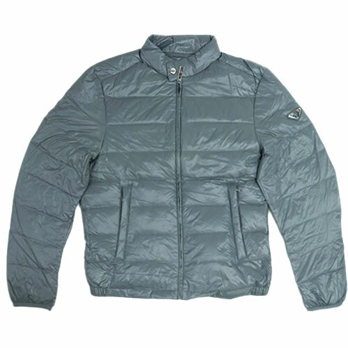 プラダ ダウンジャケット SGA462 メンズ ジップアップ ポーチ付き ナイロン ACCIAIO ブルーグレー 50サイズ アウトレット