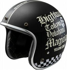 【あす楽】YBJH-004【マットブラック】【フリーサイズ】YC ハイウェイマジシャン ヘルメット イエローコーン