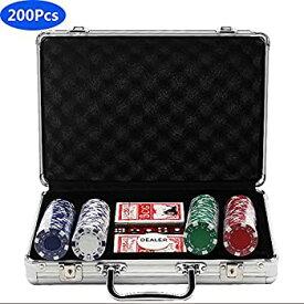 【中古】200ピースポーカーセットゲームポーカーカジノポーカーセット、2Xポーカーデッキ、アルミポーカーケース、5Xダイス、1 Xディーラーボタン、ポー