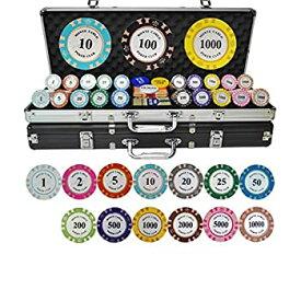 【中古】ホールデムポーカーチップポーカーチップセットゲームポーカーカジノポーカーセット500枚、カード、ダイス、ディーラー、スモールブラインド、ビ