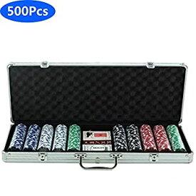 【中古】500ピースポーカーチップセット100%プラスチックカードゲームポーカーカジノポーカーセットキャリングケースとカジノChlpsカードの2デッキディ