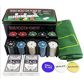 【中古】200ピースポーカーチップセットゲームポーカーカジノポーカーセット(テーブルクロス、チップ、カード、ダイス、カジノスタイルのケース付き)