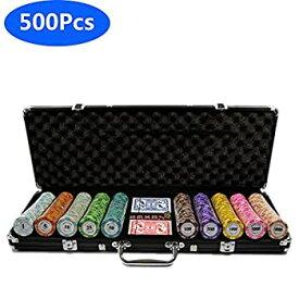 【中古】ポーカーチップセットホールデムポーカーチップ、アルミニウムケース、500個のカジノチップ、カードの2デッキディーラースモールブラインドビッ