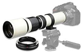 【中古】500mm f/8 手動望遠レンズ Nikon D90 D500 D3000 D3100 D3200 D3300 D3400 D5000 D5100 D5200 D5300 D5500 D7100 D7200 DSLRカメラ用 ホワイト