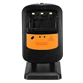 【中古】バーコードスキャナー USBケーブルUPC EANと回転式ハンズフリーハンドヘルド1D、2Dバーコードスキャナポータブル 仕事効率アップ (Color : Black