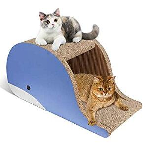 【新品】Roomingcare 猫爪とぎ オシャレ 大型 つめとぎ クジラ版猫ハウス 安定 頑丈 無臭 強化ダンボール 高密度 防寒 サイズ61×31×31 cm