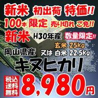 ★送料無料★新米 H30年産 岡山県産 キヌヒカリ 玄米 25kg or 白米 22.5kg