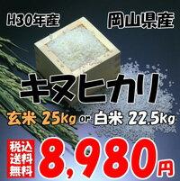 ★送料無料★H30年産 岡山県産 キヌヒカリ 玄米 25kg or 白米 22.5kg