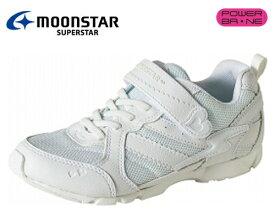 ムーンスター SS J753 『バネのチカラ』 スーパースター ジュニア ガールズ ヒモマジック 軽量設計 女児 通学履き 白靴